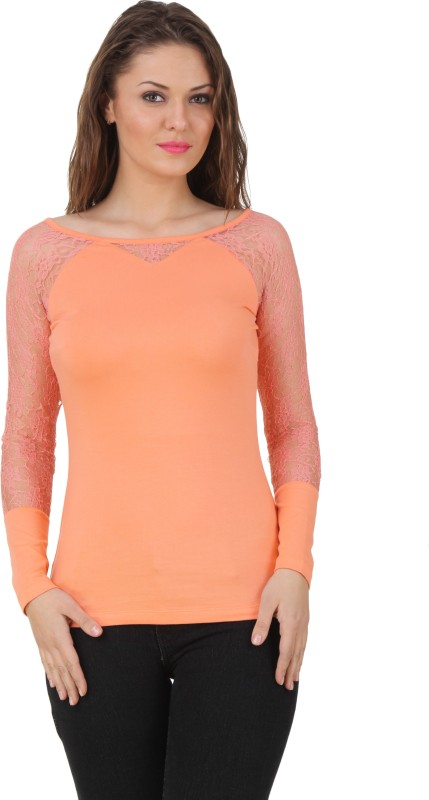 TEXCO Party Full Sleeve Solid Women's Orange Top