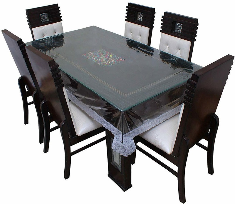 Tagve Floral 6 Seater Table Cover(Transparent, PVC)