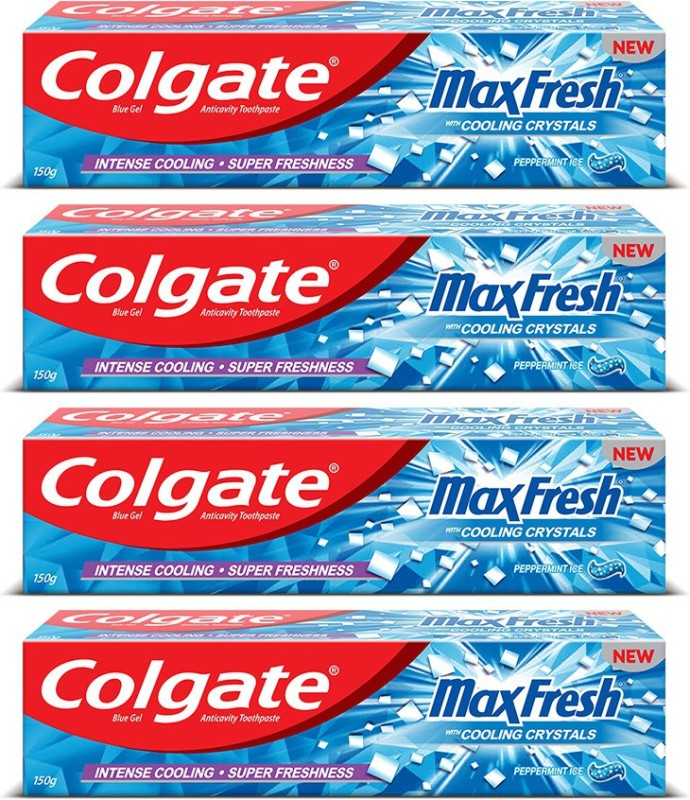 Colgate Maxfresh Blue Gel Peppermint Ice Toothpaste(150 g, Pack of 4)