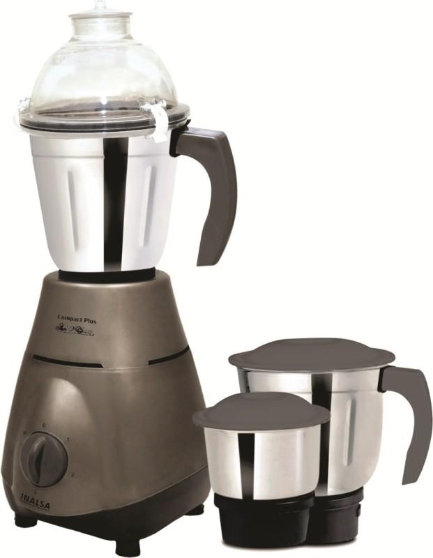 Inalsa COMAPCT Compact Plus 750 W Mixer Grinder(Steel Grey, 3 Jars)