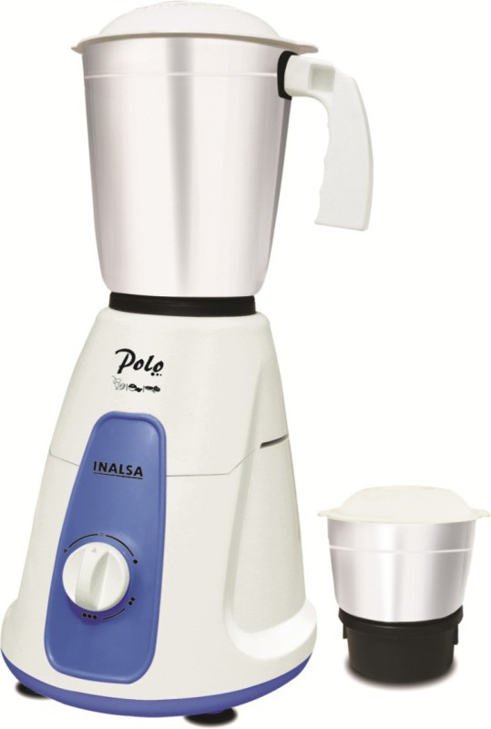 Inalsa Polo 2 550 W Mixer Grinder(White, Blue, 2 Jars)
