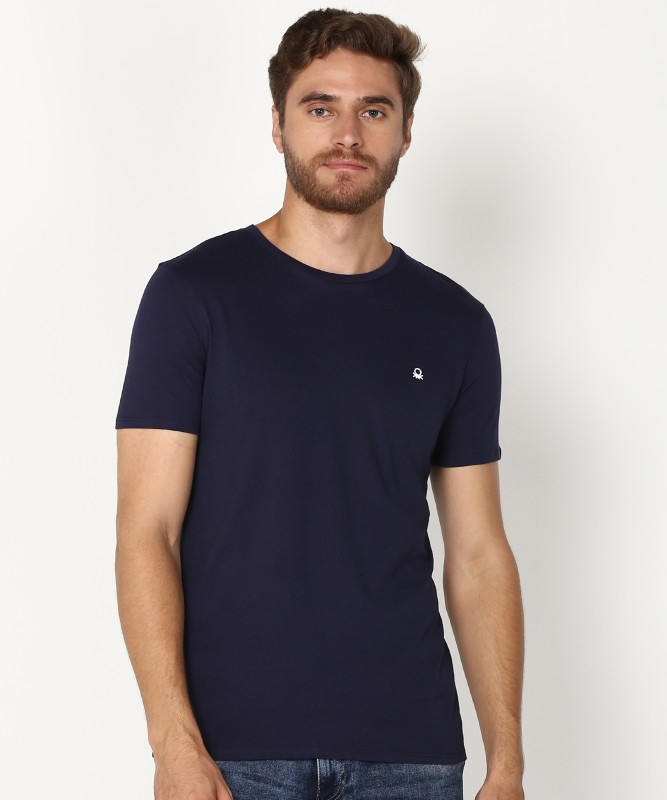 United Colors of Benetton Solid Men Round Neck Dark Blue T-Shirt