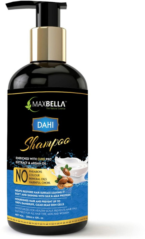 MaxBella Dahi(Curd) Shampoo Anti-dandruff Care Therapy With Argan Oil & Curd Protein, Free from Paraben & Mineral Oil, for Men and Women Hair Shampoo(300 ml)