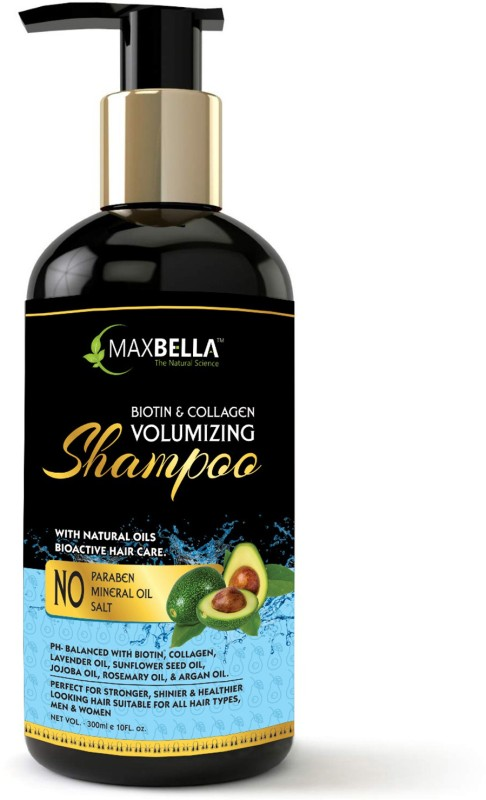 MaxBella Biotin & Collagen Thickening Shampoo for Hair Volume and Hair Loss,Free from Paraben & Mineral Oil, for Men and Women Hair Shampoo(300 ml)