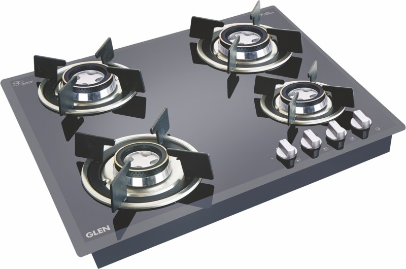 GLEN Hob 1064 RO HT DB Glass Automatic Gas Stove(4 Burners)