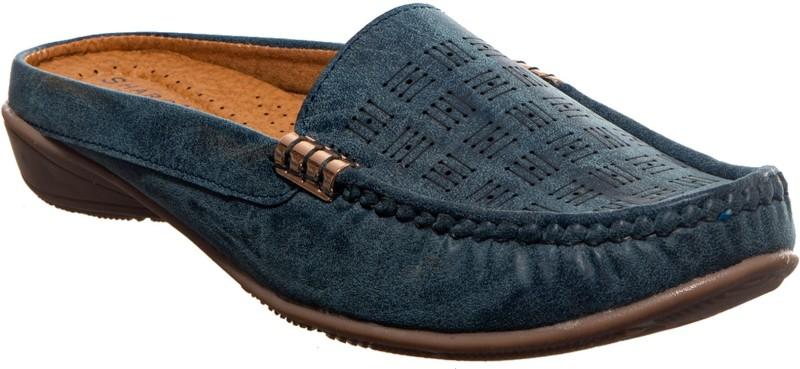 Khadim's Cleo Clog Sandal Loafers For Women(Blue)