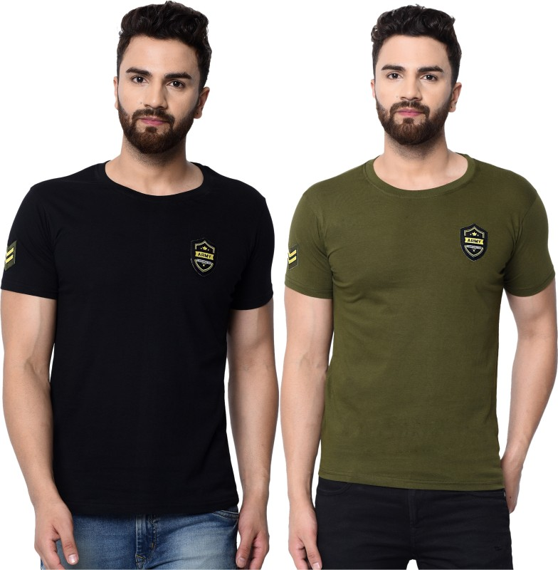London Hills Solid Men Round Neck Green, Black T-Shirt(Pack of 2)