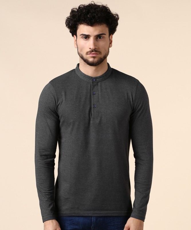 United Colors of Benetton Solid Men Mandarin Collar Grey T-Shirt