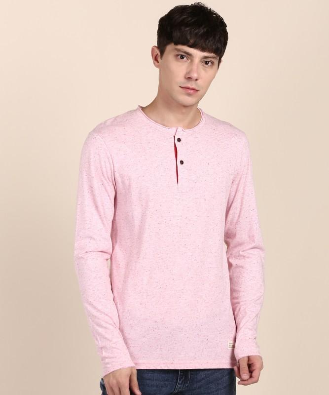 United Colors of Benetton Self Design Men Henley Neck Pink T-Shirt