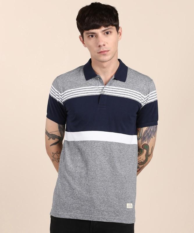 United Colors of Benetton Striped Men Polo Neck Dark Blue, Grey T-Shirt
