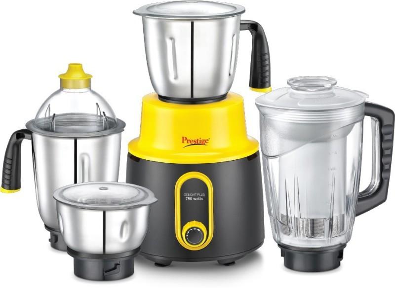 Prestige Delight Plus 750 Mixer Grinder(Yellow, 4 Jars)