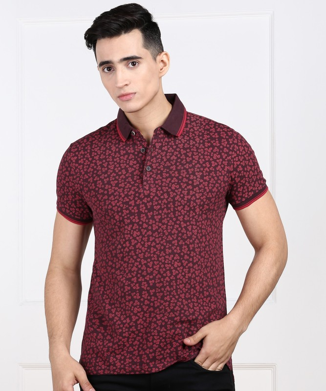 United Colors of Benetton Printed Men Polo Neck Maroon T-Shirt