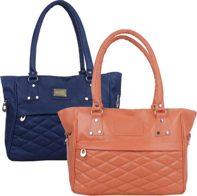 Online Hub Women Tan, Blue Handbag