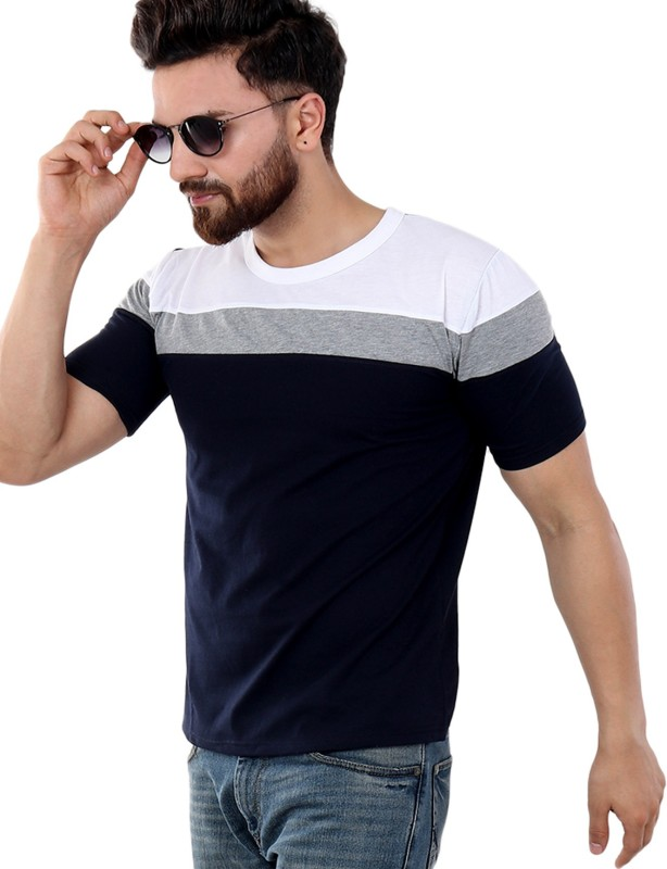 SCATCHITE Striped Men Round Neck Dark Blue, Grey, White T-Shirt