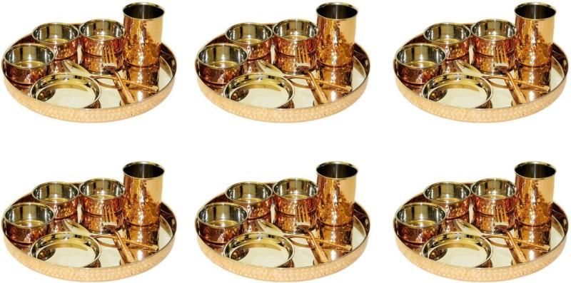 MegaKraft Steel Copper Dinner Set Pack of 6 Dinner Set(Copper, Stainless Steel)