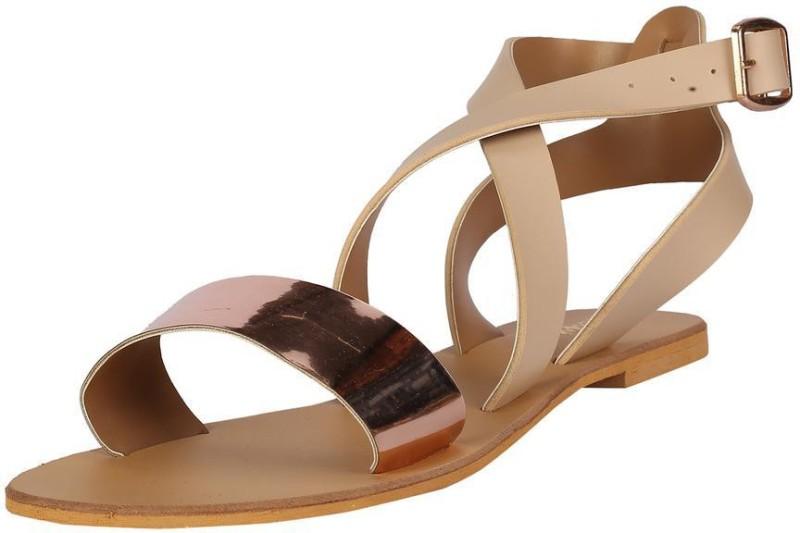 People Women Gold Sandals