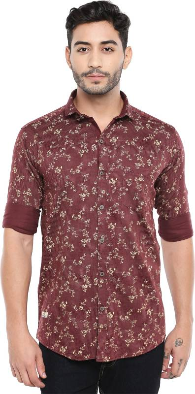 Kevin Swift Men Floral Print Casual Red Shirt