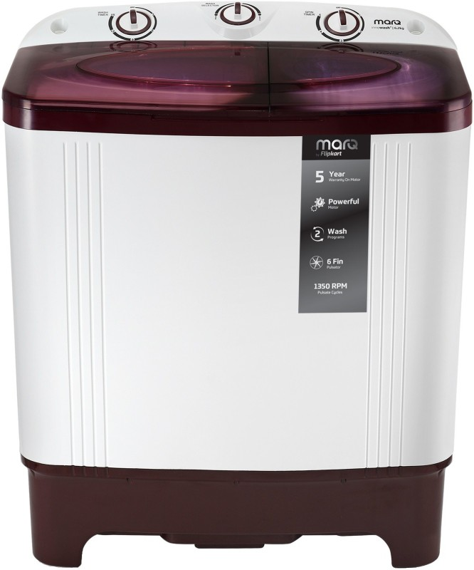MarQ by Flipkart 6.2 kg Semi Automatic Top Load White, Maroon(MQSAHM62)