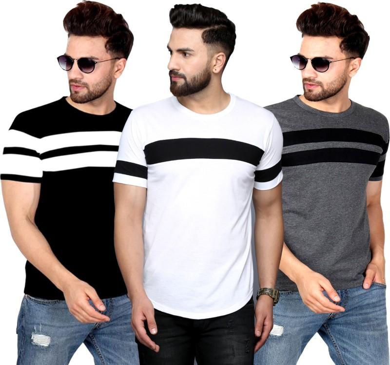 SCATCHITE Striped Men Round Neck Black, White T-Shirt(Pack of 3)