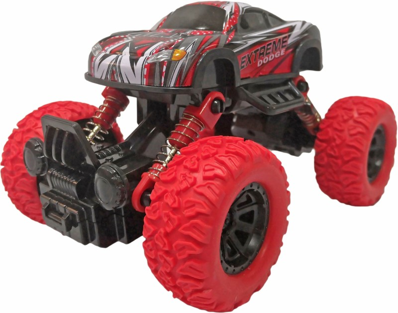 Miss & Chief Pull Back Rock Crawler Monster Truck with Rubber Wheels for Kids(Red)