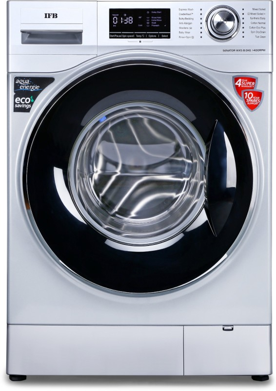 IFB 8 kg Unbalance correction, self-diagnosis Fully Automatic Front Load with In-built Heater Silver(Senator WXS)