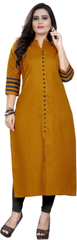amar tex Casual Solid Women Kurti(Yellow)