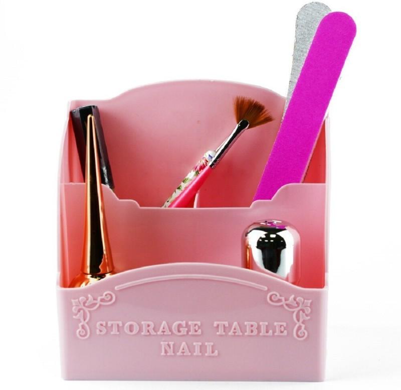 NYLSA Professional 4 Compartment Makeup, Cosmetic, Nail Art, Brushes, Nail Polishes, Lipsticks Vanity Box(Pink)