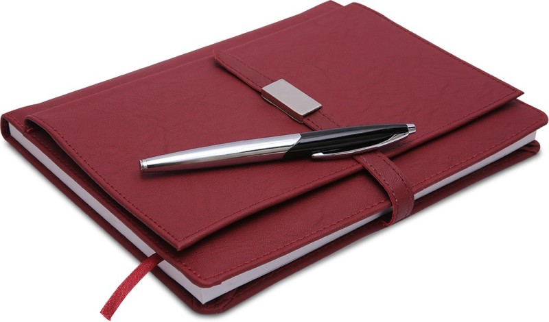 COI Crimson Red Executive Corporate Undated Business Diary/Notebook for Women Professional to Do List Memo Organizer Planner Business Man Gifts with Pen Regular Gift Set 220 Pages(Red)