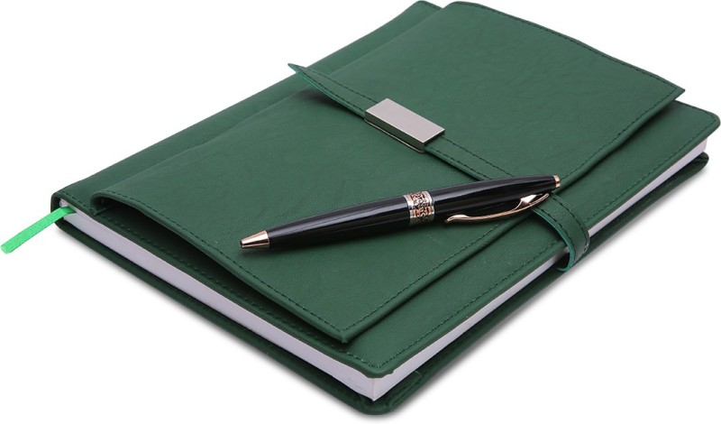 COI Green Executive Corporate Undated Business Diary/Notebook for Women Professional to Do List Memo Organizer Planner Business Man Gifts with Pen Regular Gift Set 220 Pages(Green)