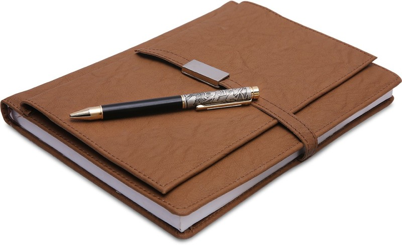 COI Brown Executive Corporate Undated Business Diary/Notebook for Women Professional to Do List Memo Organizer Planner Business Man Gifts with Pen Regular Gift Set 220 Pages(Brown)