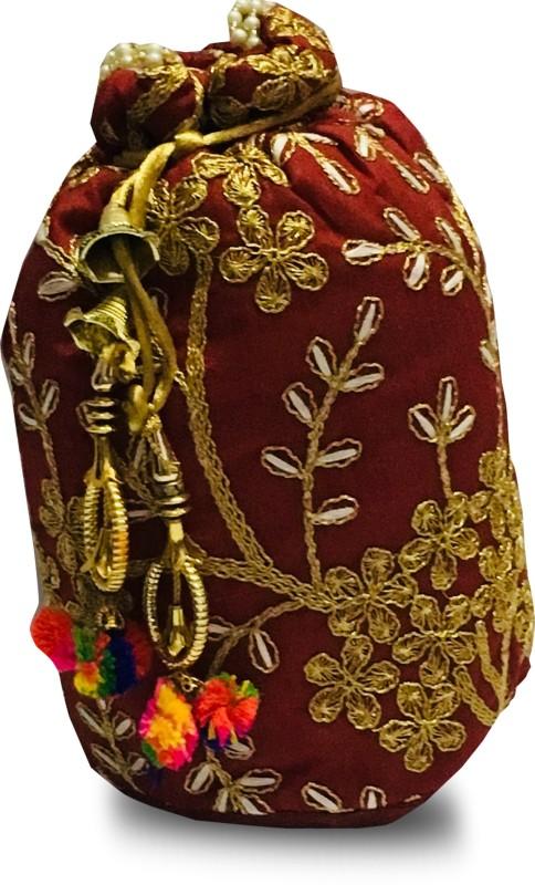 A ONE QUALITY Women's/Girls Rajasthani Silk Potli Bag Potli Potli(Maroon)