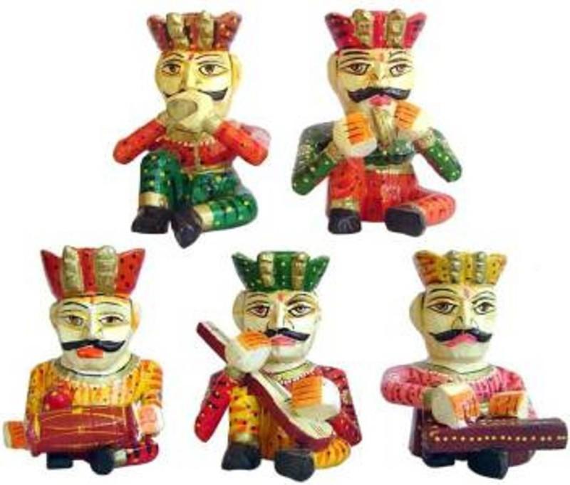 ANKARA MUSICAIAN BAWLA SET Decorative Showpiece - 6 cm(Wood, Multicolor)