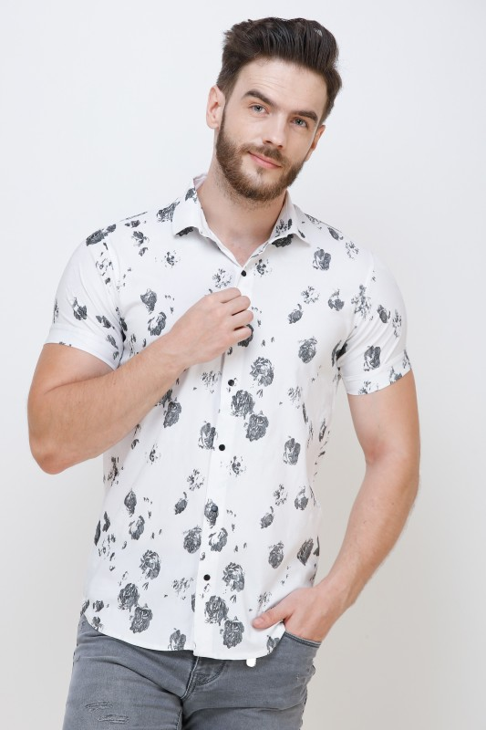 Colvyn Harris Men Floral Print Casual White Shirt