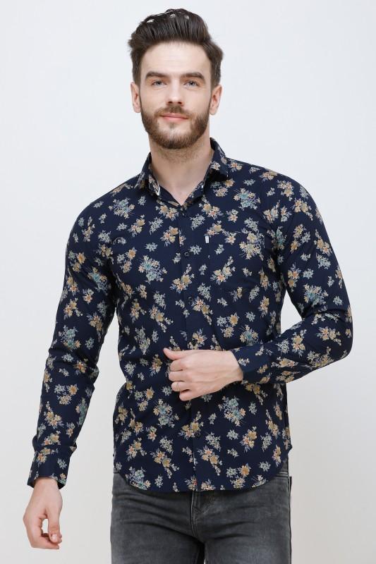 Colvyn Harris Men Floral Print Casual Blue Shirt
