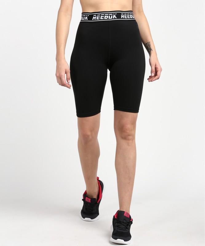 REEBOK Solid Women Black Sports Shorts
