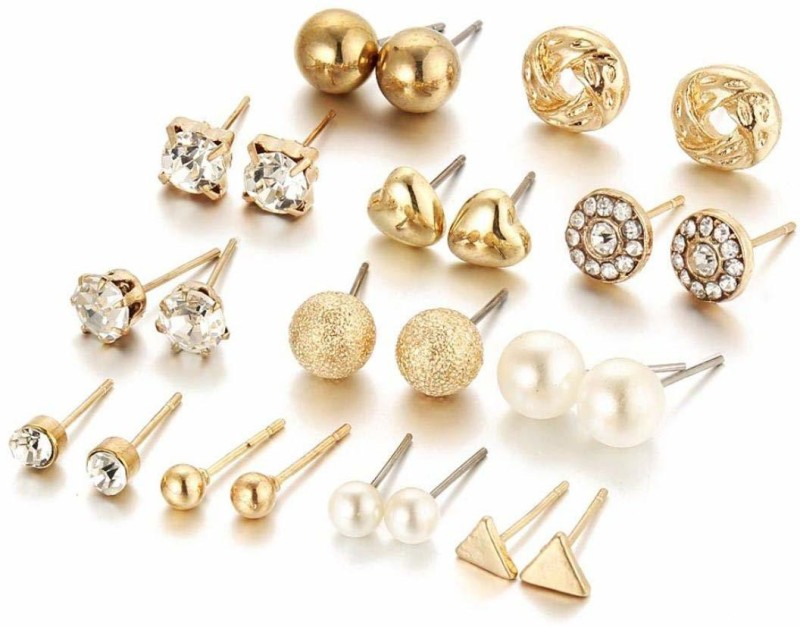 Jewels Galaxy Trendy Gold Cubic Zirconia Alloy Stud Earring