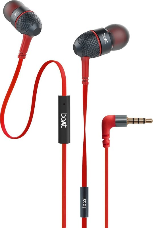 boAt BassHeads 220 Super Extra Bass Wired Headset(Raging Red, In the Ear)