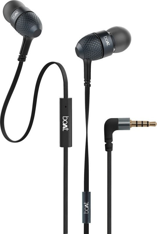 boAt BassHeads 220 Super Extra Bass Wired Headset(Black, In the Ear)