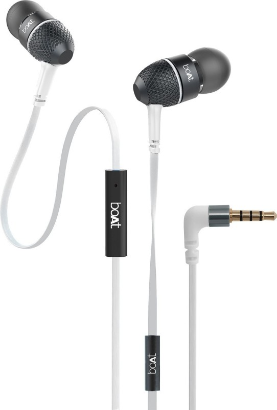 boAt BassHeads 220 Super Extra Bass Wired Headset(Frosty White, In the Ear)