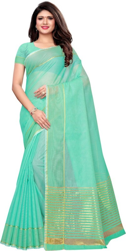 Saara Striped, Woven Kota Doria Cotton Blend, Poly Silk Saree(Light Green)