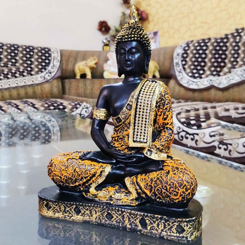 Craft Junction Beautiful Black Golden Meditating Lord Buddha Decorative Showpiece - 25 cm(Polyresin, Multicolor)