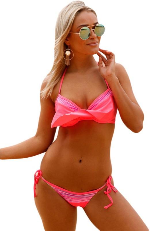 Spice it up Bright Coral Striped Detail Ruffle Top 2pcs Bathing Suit Swimming Costume Dress Swimwear, Bikini Solid Women Swimsuit