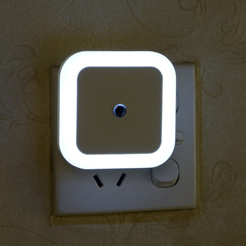 WORA Night Lamp Square Modern Design for Bedroom Automatic Light Sensor LED White Night Lamp(6.5 cm, White)
