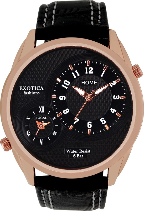 Exotica Fashions EF-72-Dual-LS-Rose-Gold-Black Basic Analog Watch - For Men