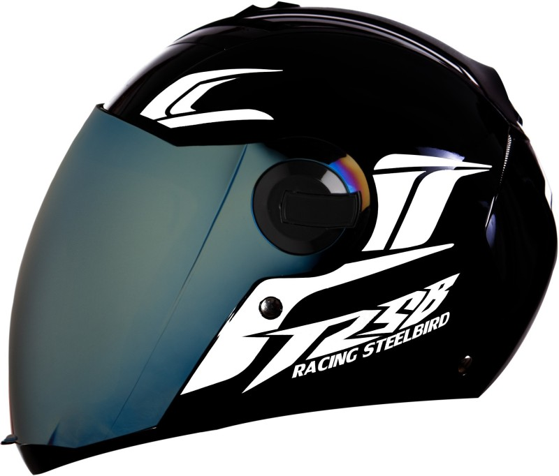 Steelbird SBA-2 Moon Dashing Full Face with Reflective Graphics for Night Riding Motorbike Helmet(Black, White)