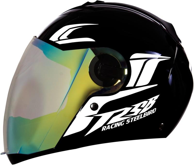Steelbird SBA-2 Moon Dashing Full Face with Reflective Graphics for Night Riding Motorbike Helmet(Black, White)