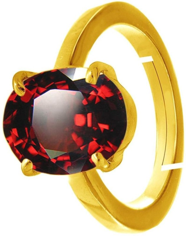 SHYAMKRIPA GEMS 9.25 Carat Natural Original Certified Metal Garnet Gold Plated Ring