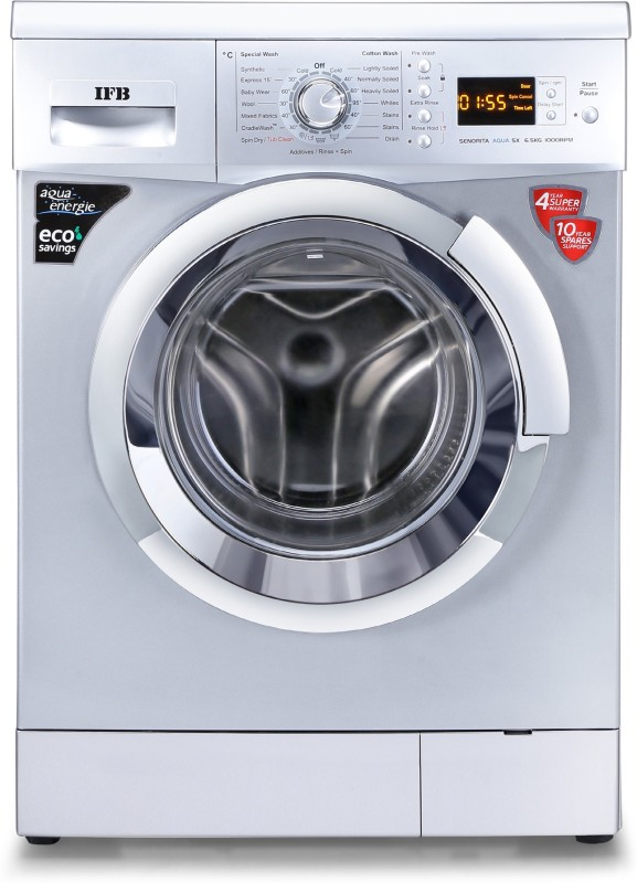 IFB 6.5 kg 3D Wash Fully Automatic Front Load with In-built Heater Silver(Senorita Aqua SX - 6.5 KG)