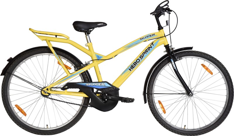 HERO Skyper 26 T Mountain/Hardtail Cycle(Single Speed, Yellow, Blue)