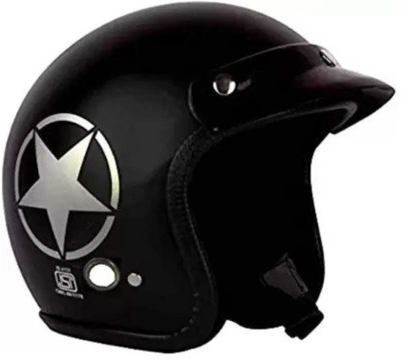 Grizzly O2 Khaki Star ISI Certified Dashing Motorbike Helmet(Black)